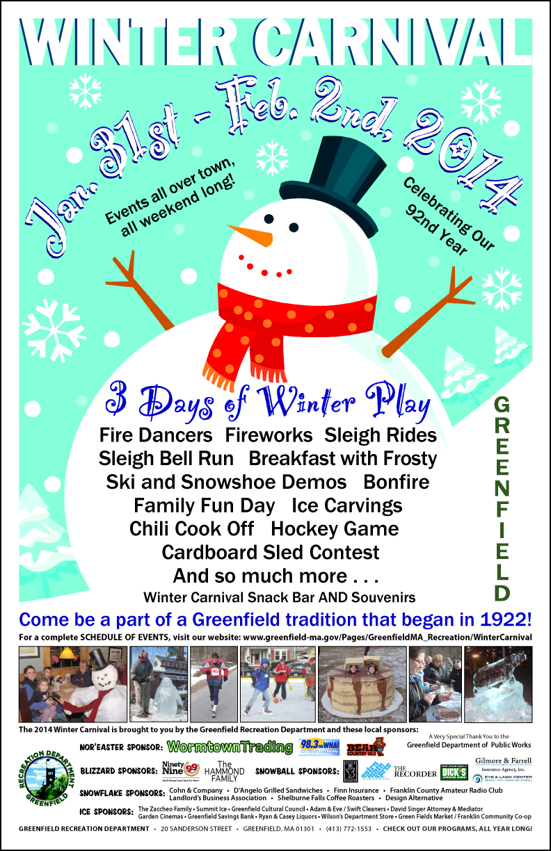 greenfield recreation department l 2014 winter carnival